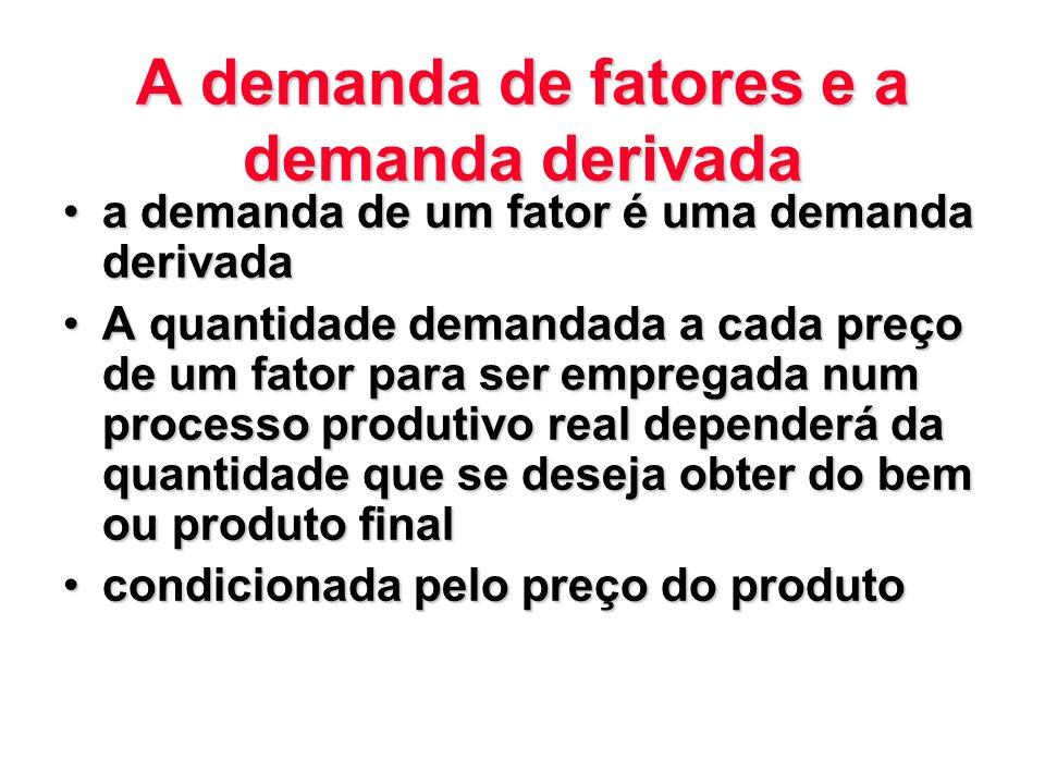 A demanda de fatores e a demanda derivada a demanda de um fator é uma demanda derivadaa demanda de um fator é uma demanda derivada A quantidade demand