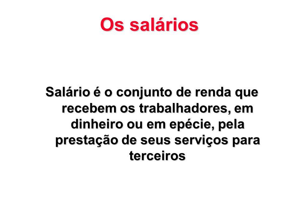 Os salários Salário é o conjunto de renda que recebem os trabalhadores, em dinheiro ou em epécie, pela prestação de seus serviços para terceiros