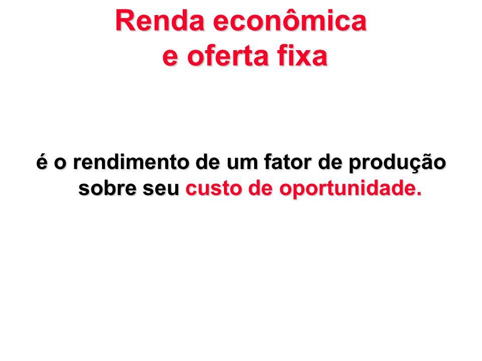Renda econômica e oferta fixa é o rendimento de um fator de produção sobre seu custo de oportunidade.