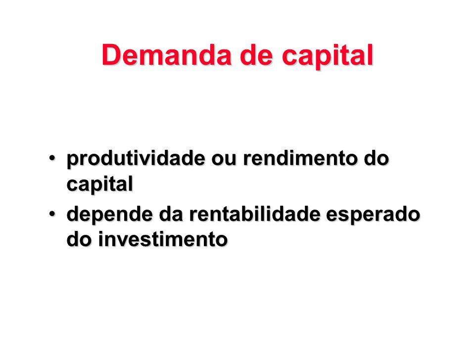 Demanda de capital produtividade ou rendimento do capitalprodutividade ou rendimento do capital depende da rentabilidade esperado do investimentodepen