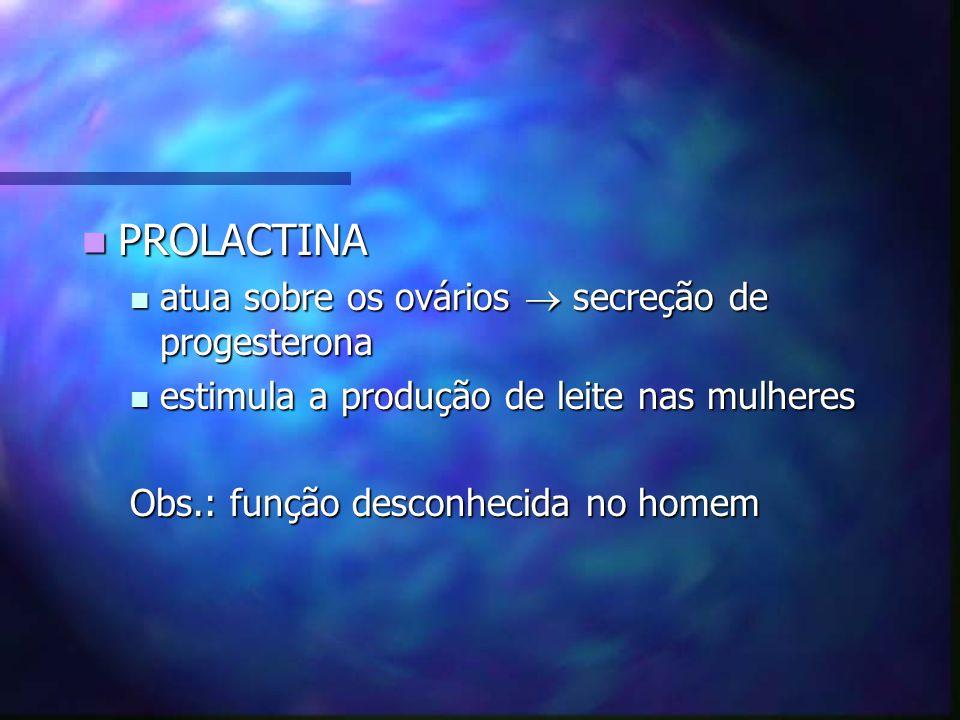 PROLACTINA PROLACTINA atua sobre os ovários secreção de progesterona atua sobre os ovários secreção de progesterona estimula a produção de leite nas m