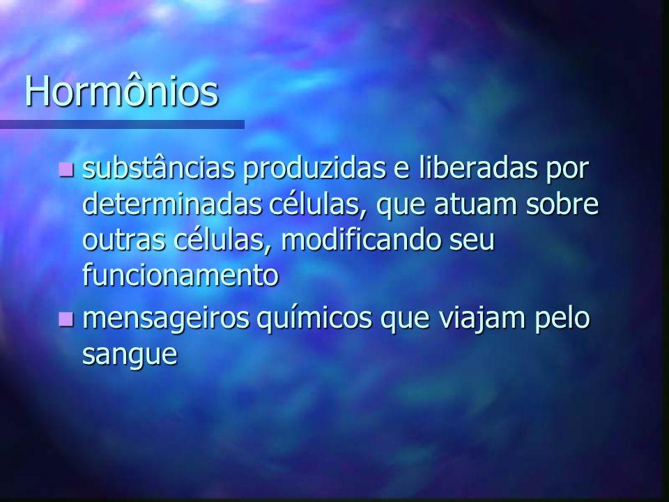 Hormônios substâncias produzidas e liberadas por determinadas células, que atuam sobre outras células, modificando seu funcionamento substâncias produ