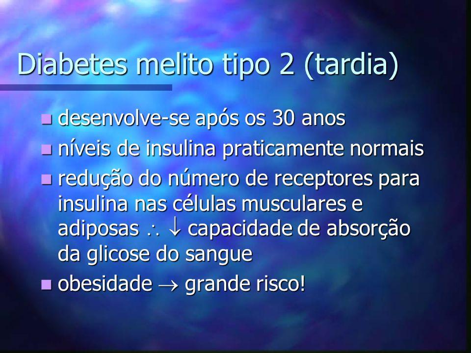 Diabetes melito tipo 2 (tardia) desenvolve-se após os 30 anos desenvolve-se após os 30 anos níveis de insulina praticamente normais níveis de insulina