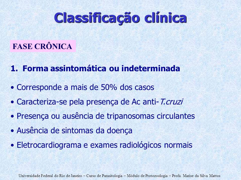Universidade Federal do Rio de Janeiro – Curso de Parasitologia – Módulo de Protozoologia – Profa. Marise da Silva Mattos Classificação clínica 1.Form