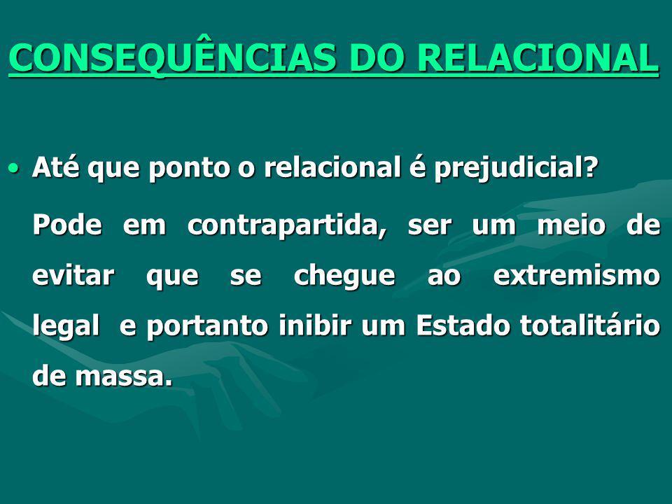 CONSEQUÊNCIAS DO RELACIONAL Não na forma atual, porque a Lei é a extensão da estrutura pessoalista. É a continuidade do modo de produção, da cultura q