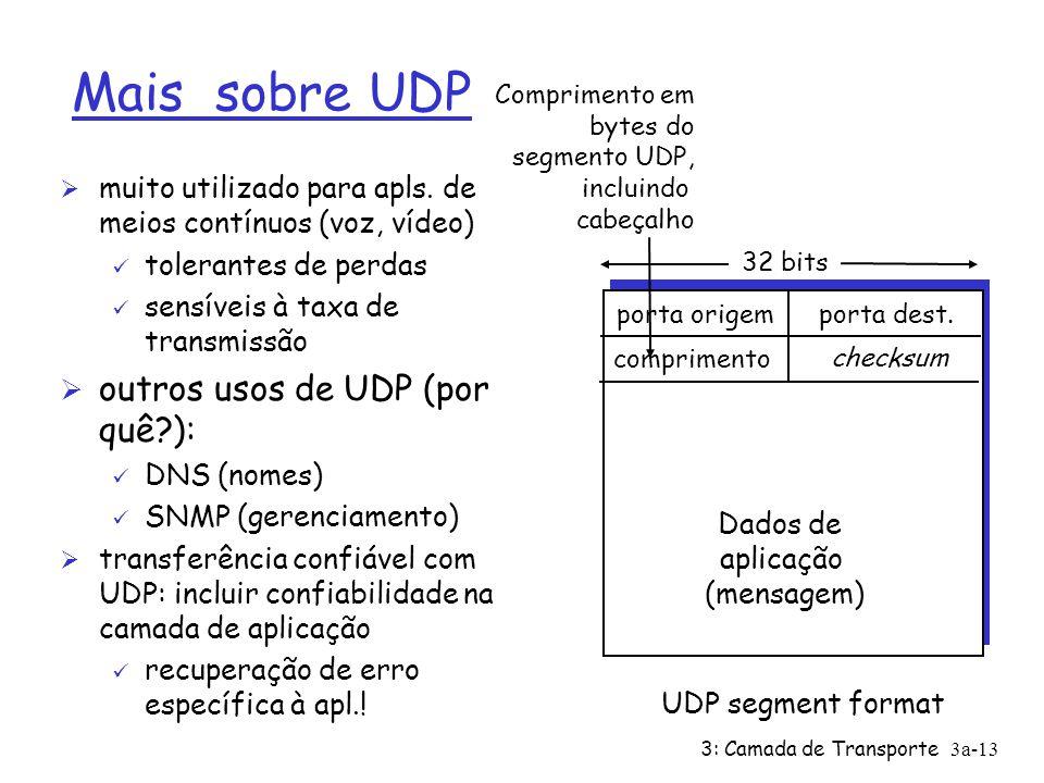 3: Camada de Transporte3a-12 UDP: User Datagram Protocol [RFC 768] Ø Protocolo de transporte da Internet mínimo, sem frescura, Ø Serviço melhor esforç