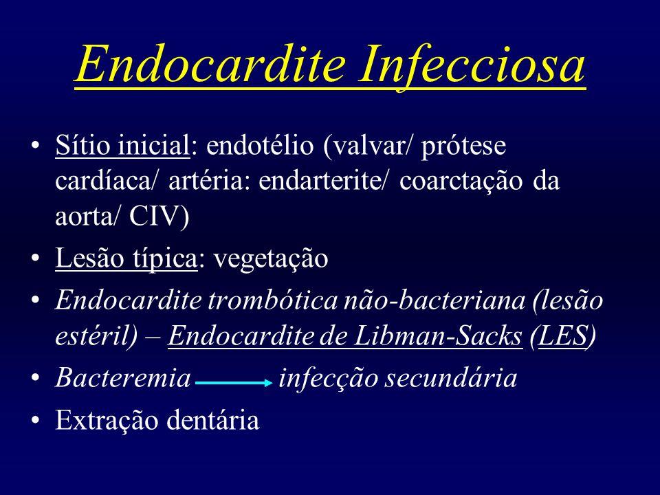 Endocardite Infecciosa ACHADOS CLÍNICOS: Petéquias Hemorragias em farpa (sub-ungueal) Nódulos de Osler (10 a 20%) – nódulos dolorosos, eritematosos em polpas digitais Manchas de Janeway – pequenas lesões eritematosas, endurecidas em palma das mãos e planta dos pés Embolia periférica/ pulmonar séptica