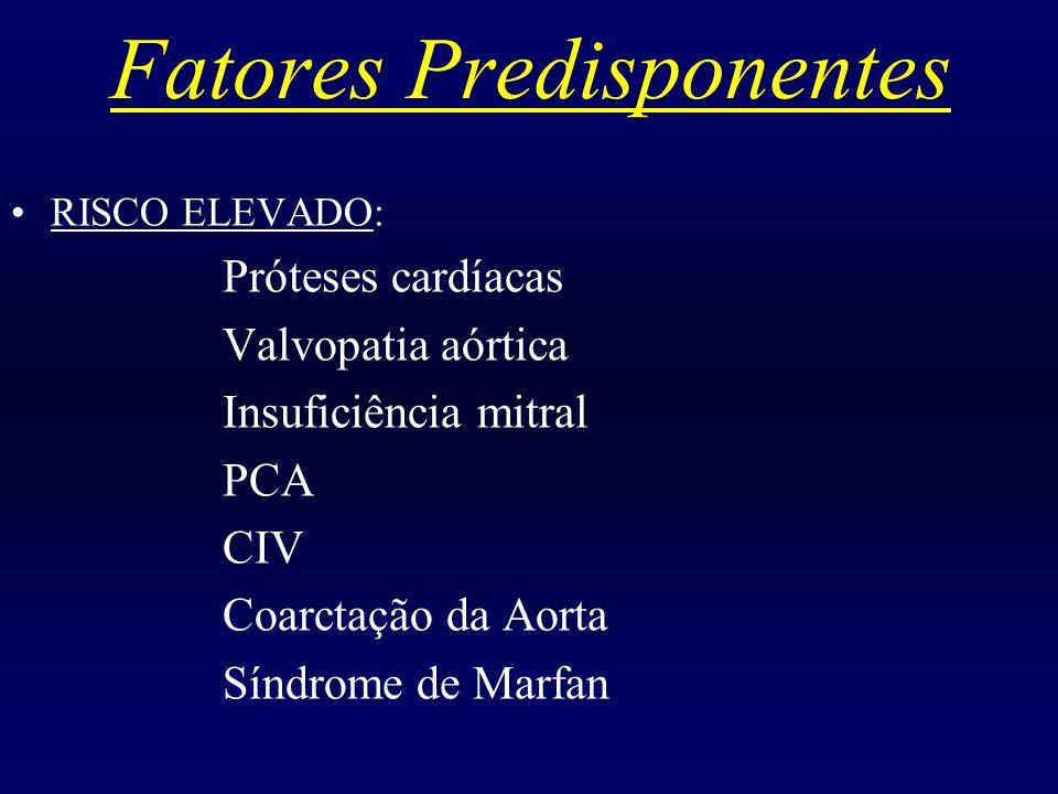 Fatores Predisponentes RISCO BAIXO: CIA Coronariopatia Placas ateroscleróticas Aortite sifilítica Marcapasso cardíaco Lesões cardíacas corrigidas cirurgicamente (mais de 6 meses após a cirurgia)