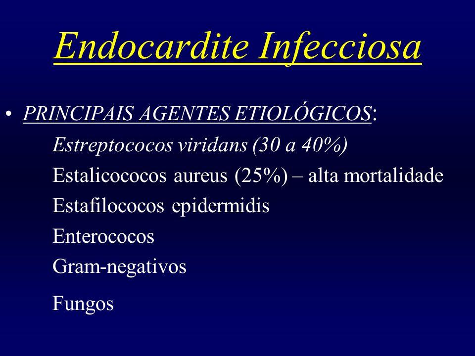 Endocardite Infecciosa FATORES DE RISCO PARA ENDOCARDITE FÚNGICA : Prótese cardíaca implantada Cateteres vasculares e hospitalização prolongada Antibióticos de amplo espectro Imunosupressão Usuários de drogas IV