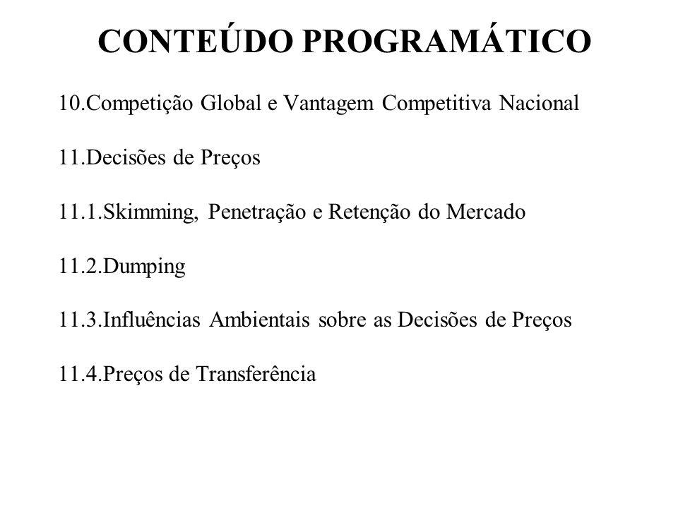 CONTEÚDO PROGRAMÁTICO 10.Competição Global e Vantagem Competitiva Nacional 11.Decisões de Preços 11.1.Skimming, Penetração e Retenção do Mercado 11.2.