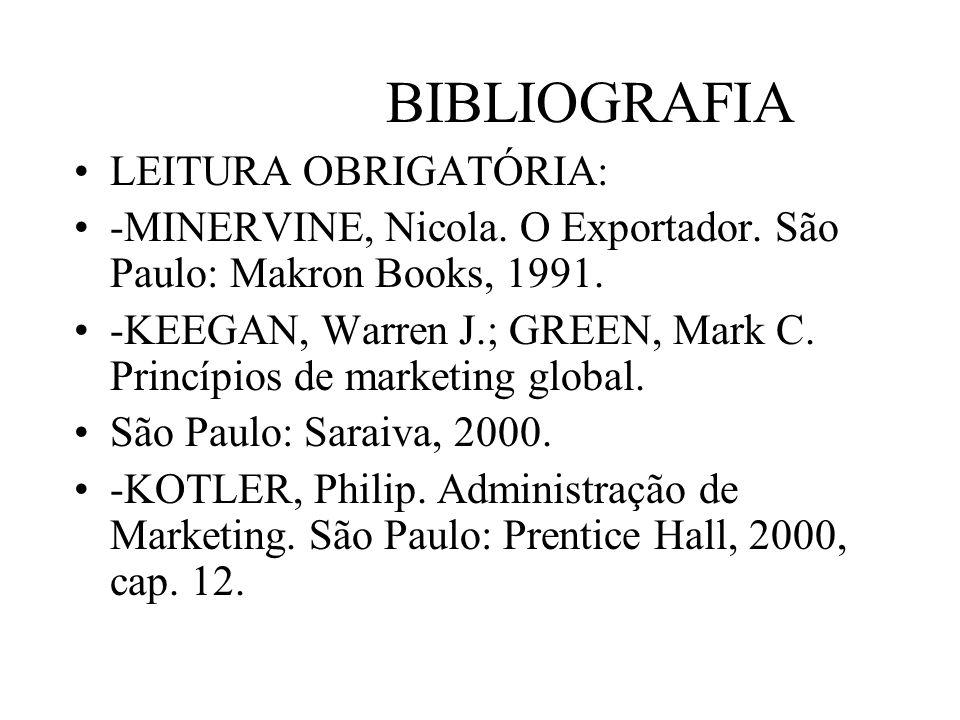 BIBLIOGRAFIA LEITURA OBRIGATÓRIA: -MINERVINE, Nicola. O Exportador. São Paulo: Makron Books, 1991. -KEEGAN, Warren J.; GREEN, Mark C. Princípios de ma
