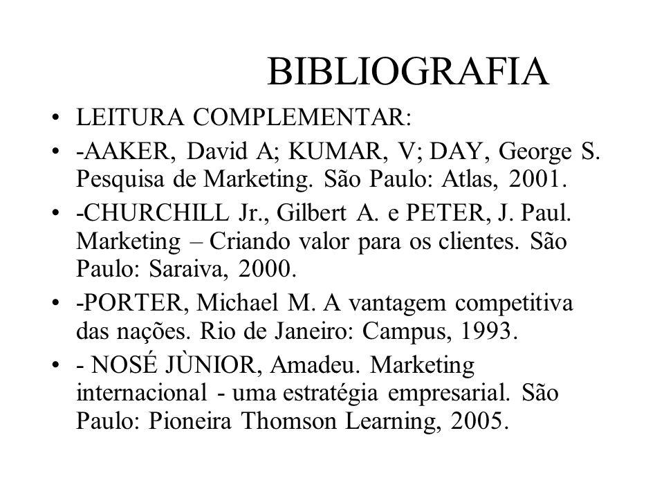 BIBLIOGRAFIA LEITURA COMPLEMENTAR: -AAKER, David A; KUMAR, V; DAY, George S. Pesquisa de Marketing. São Paulo: Atlas, 2001. -CHURCHILL Jr., Gilbert A.