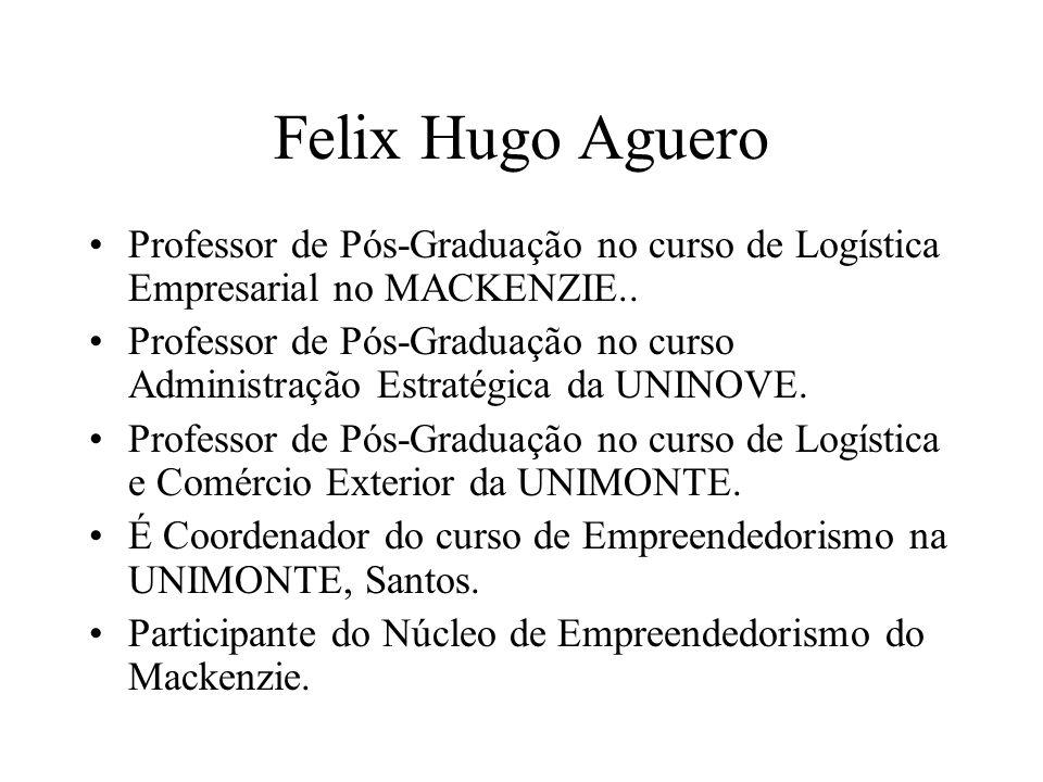 Felix Hugo Aguero Professor de Pós-Graduação no curso de Logística Empresarial no MACKENZIE.. Professor de Pós-Graduação no curso Administração Estrat