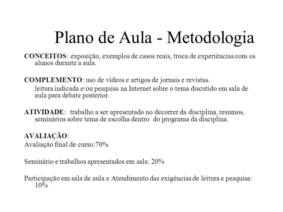 Plano de Aula - Metodologia CONCEITOS: exposição, exemplos de casos reais, troca de experiências com os alunos durante a aula.