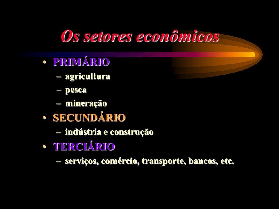 Os setores econômicos PRIMÁRIOPRIMÁRIO –agricultura –pesca –mineração SECUNDÁRIOSECUNDÁRIO –indústria e construção TERCIÁRIOTERCIÁRIO –serviços, comér