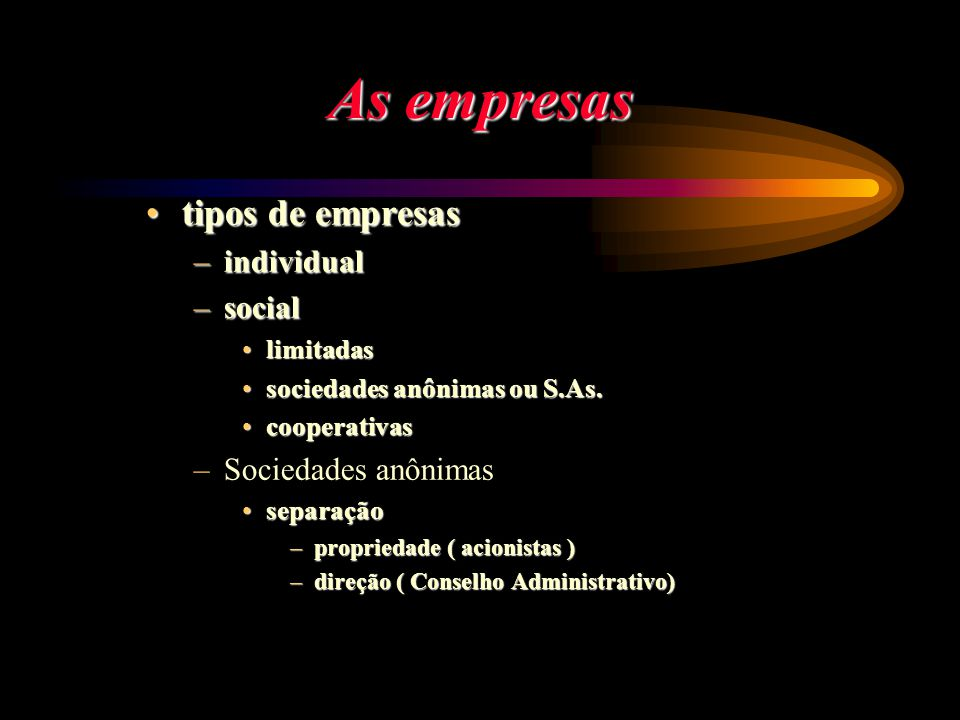 As empresas tipos de empresastipos de empresas –individual –social limitadaslimitadas sociedades anônimas ou S.As.sociedades anônimas ou S.As. coopera