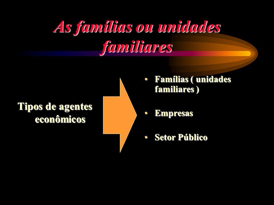 As famílias ou unidades familiares Tipos de agentes econômicos Famílias ( unidades familiares ) Famílias ( unidades familiares ) Empresas Empresas Set
