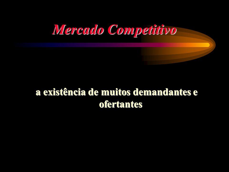 Mercado Competitivo a existência de muitos demandantes e ofertantes