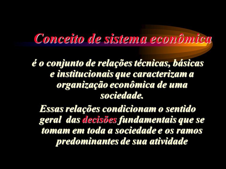 Conceito de sistema econômica é o conjunto de relações técnicas, básicas e institucionais que caracterizam a organização econômica de uma sociedade. E