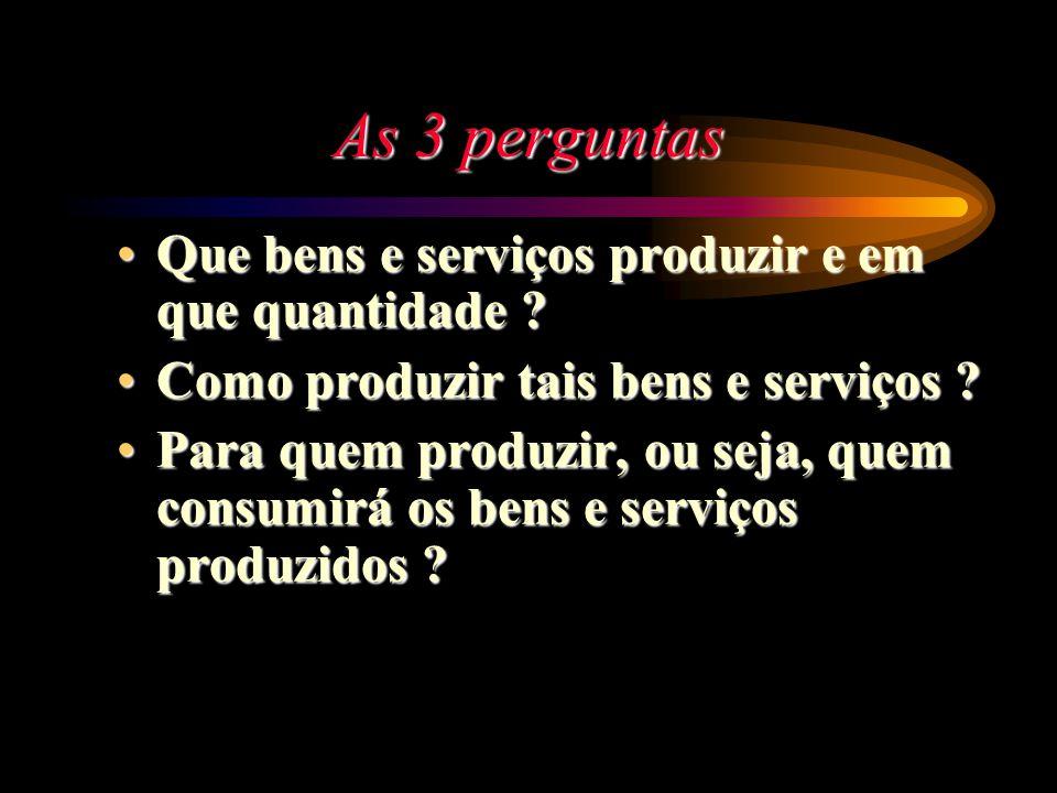 As 3 perguntas Que bens e serviços produzir e em que quantidade ?Que bens e serviços produzir e em que quantidade ? Como produzir tais bens e serviços