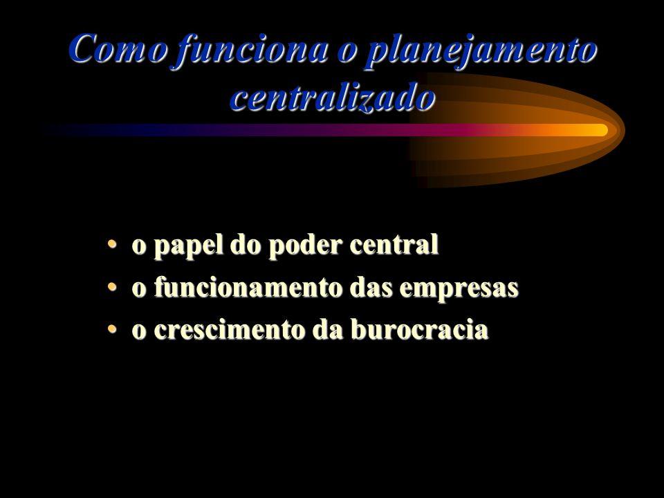 Como funciona o planejamento centralizado o papel do poder centralo papel do poder central o funcionamento das empresaso funcionamento das empresas o