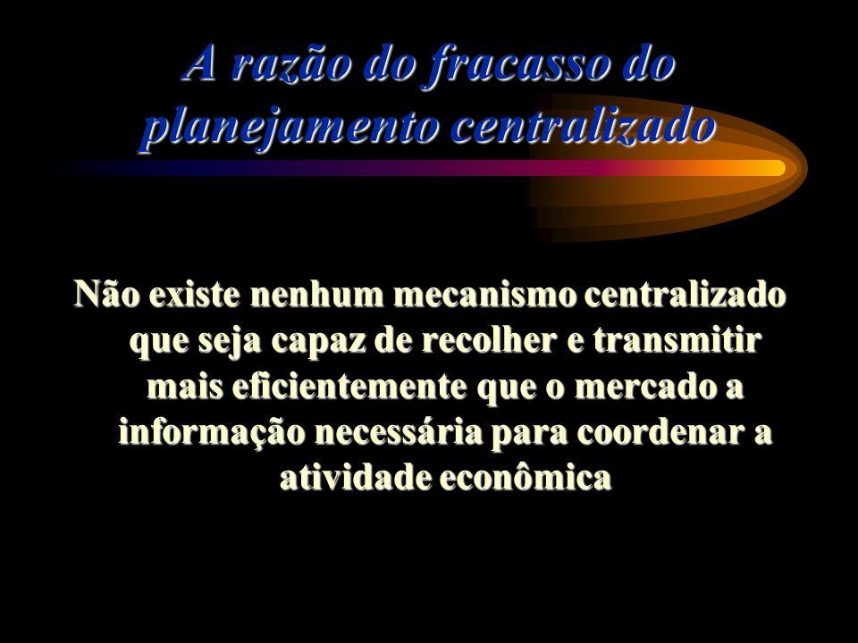 A razão do fracasso do planejamento centralizado Não existe nenhum mecanismo centralizado que seja capaz de recolher e transmitir mais eficientemente