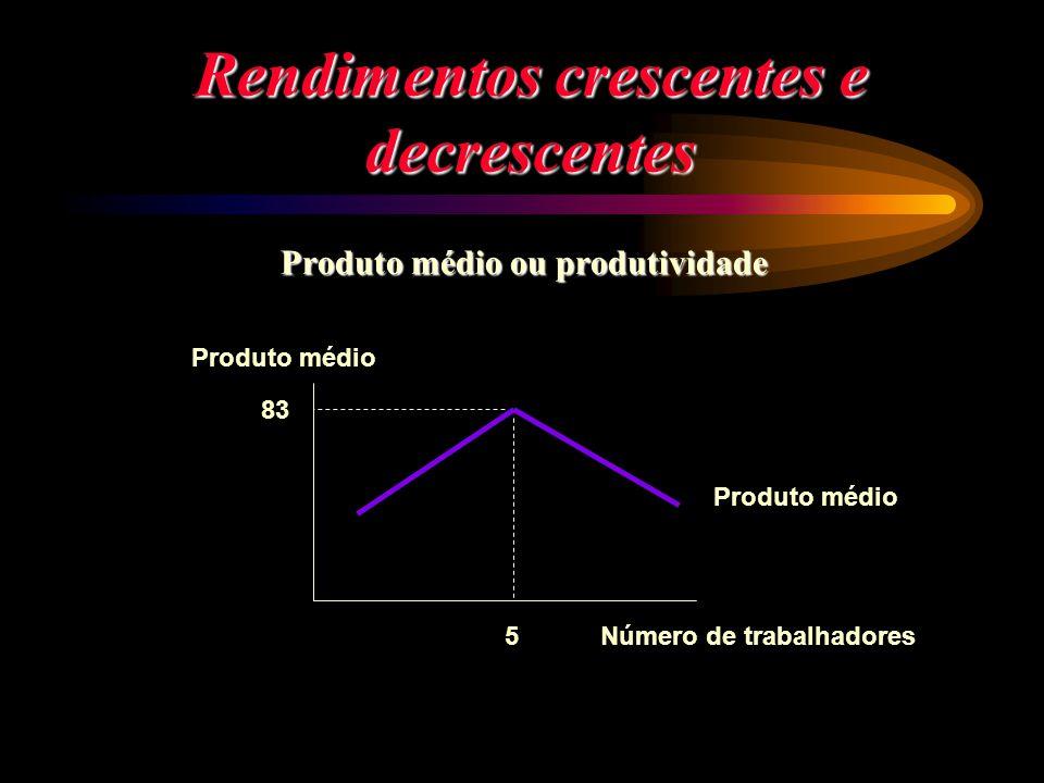 Rendimentos crescentes e decrescentes Produto médio ou produtividade Produto médio 83 5 Produto médio Número de trabalhadores