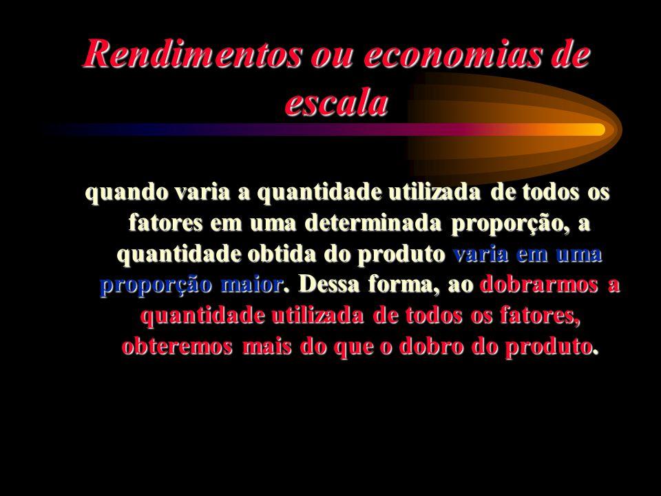 Rendimentos ou economias de escala quando varia a quantidade utilizada de todos os fatores em uma determinada proporção, a quantidade obtida do produt