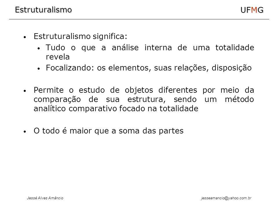 Estruturalismo Jessé Alves Amâncio UFMG jesseamancio@yahoo.com.br Estruturalismo significa: Tudo o que a análise interna de uma totalidade revela Foca