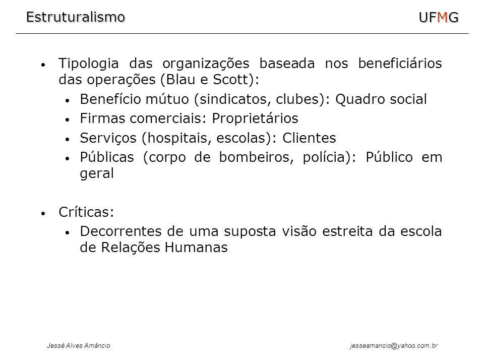 Estruturalismo Jessé Alves Amâncio UFMG jesseamancio@yahoo.com.br Tipologia das organizações baseada nos beneficiários das operações (Blau e Scott): Benefício mútuo (sindicatos, clubes): Quadro social Firmas comerciais: Proprietários Serviços (hospitais, escolas): Clientes Públicas (corpo de bombeiros, polícia): Público em geral Críticas: Decorrentes de uma suposta visão estreita da escola de Relações Humanas