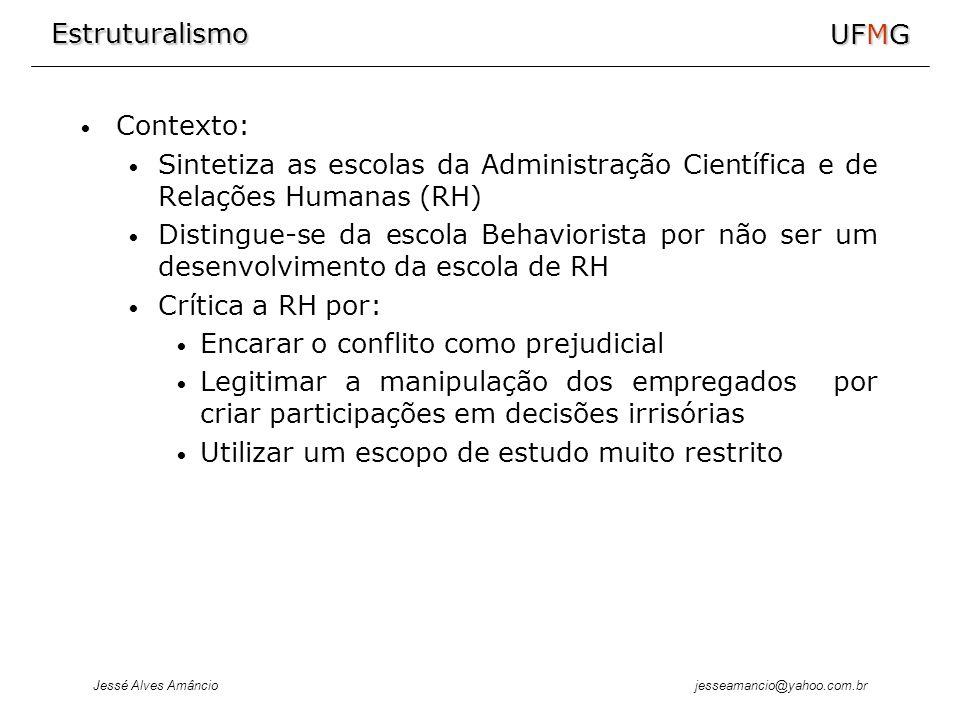 Estruturalismo Jessé Alves Amâncio UFMG jesseamancio@yahoo.com.br Contexto: Sintetiza as escolas da Administração Científica e de Relações Humanas (RH