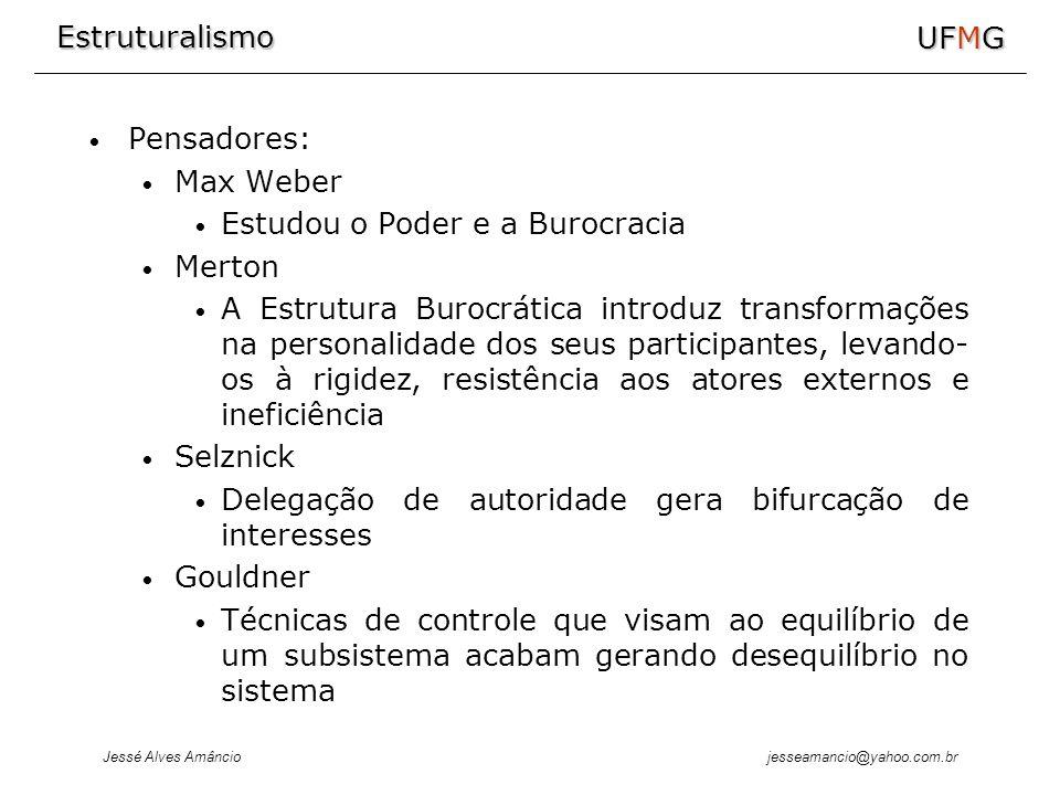 Estruturalismo Jessé Alves Amâncio UFMG jesseamancio@yahoo.com.br Pensadores: Max Weber Estudou o Poder e a Burocracia Merton A Estrutura Burocrática