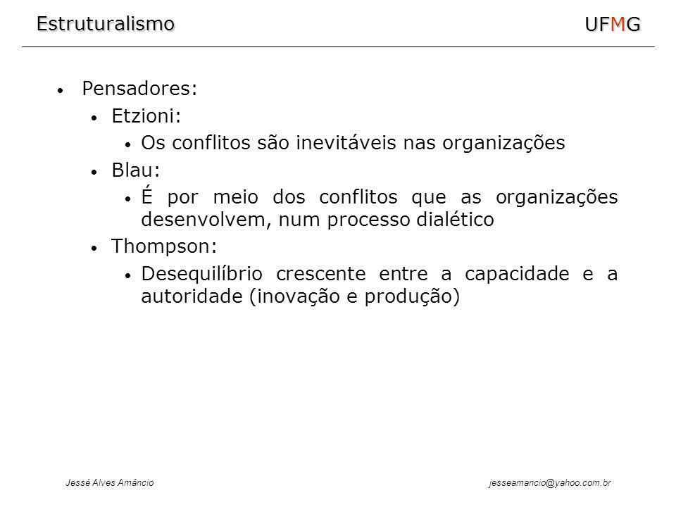 Estruturalismo Jessé Alves Amâncio UFMG jesseamancio@yahoo.com.br Pensadores: Etzioni: Os conflitos são inevitáveis nas organizações Blau: É por meio