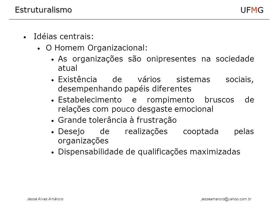 Estruturalismo Jessé Alves Amâncio UFMG jesseamancio@yahoo.com.br Idéias centrais: O Homem Organizacional: As organizações são onipresentes na socieda