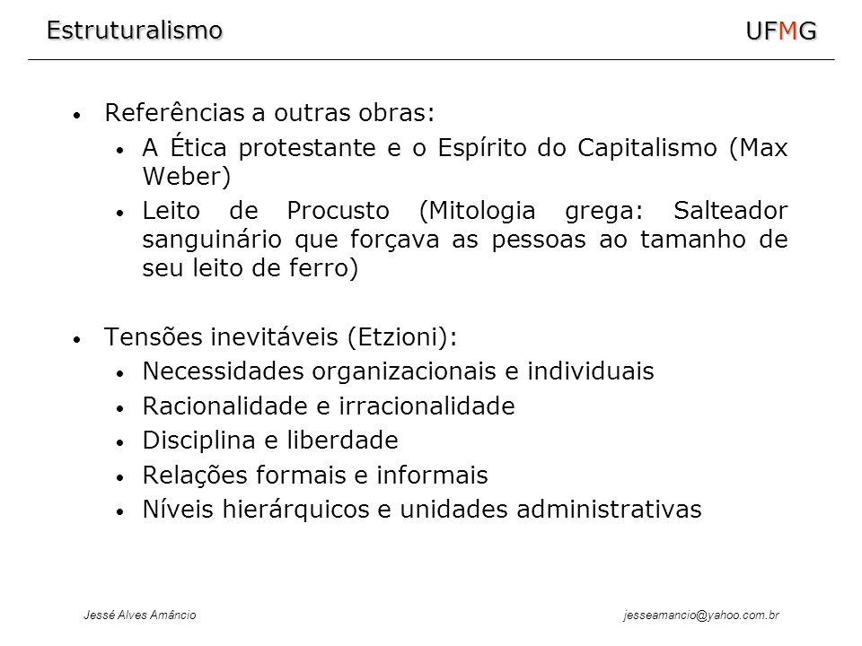 Estruturalismo Jessé Alves Amâncio UFMG jesseamancio@yahoo.com.br Referências a outras obras: A Ética protestante e o Espírito do Capitalismo (Max Web