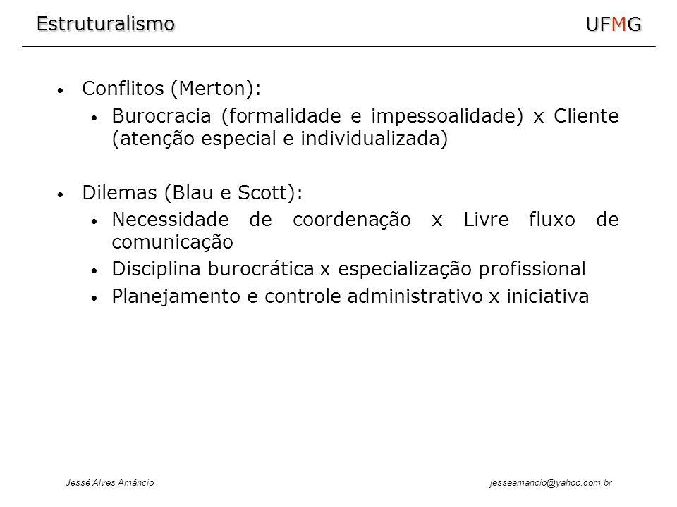 Estruturalismo Jessé Alves Amâncio UFMG jesseamancio@yahoo.com.br Conflitos (Merton): Burocracia (formalidade e impessoalidade) x Cliente (atenção esp