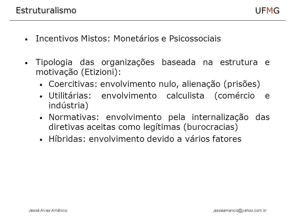Estruturalismo Jessé Alves Amâncio UFMG jesseamancio@yahoo.com.br Incentivos Mistos: Monetários e Psicossociais Tipologia das organizações baseada na