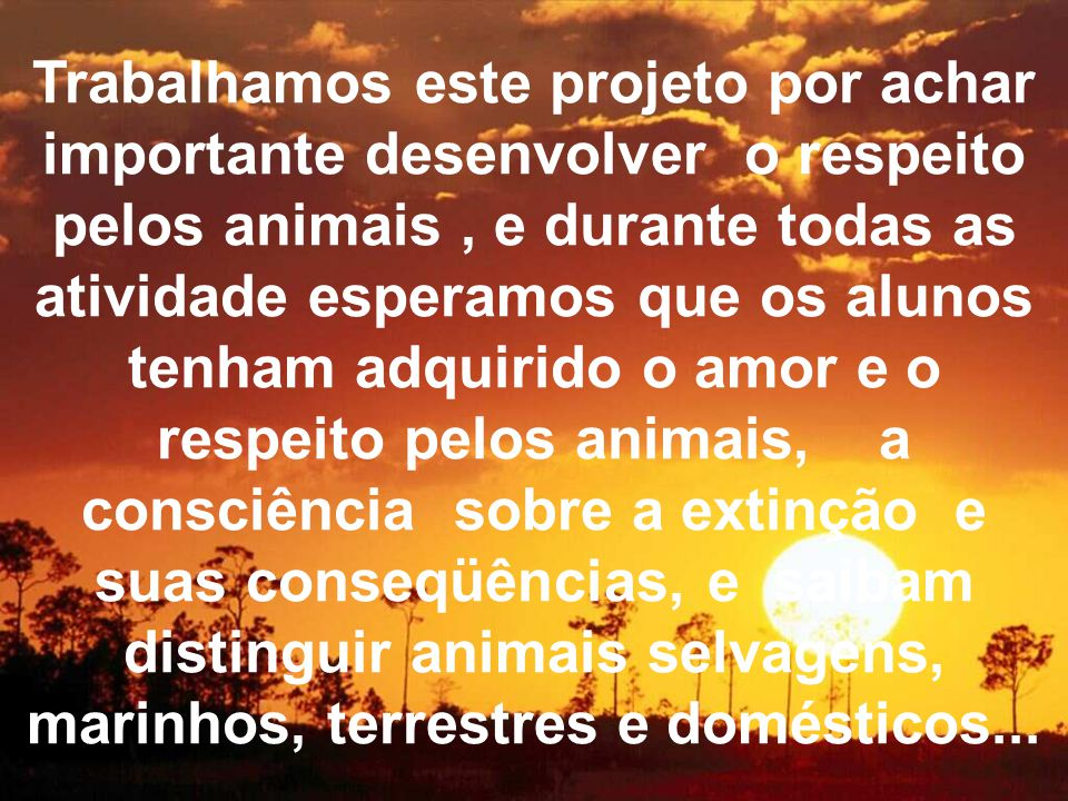 Trabalhamos este projeto por achar importante desenvolver o respeito pelos animais, e durante todas as atividade esperamos que os alunos tenham adquirido o amor e o respeito pelos animais, a consciência sobre a extinção e suas conseqüências, e saibam distinguir animais selvagens, marinhos, terrestres e domésticos...