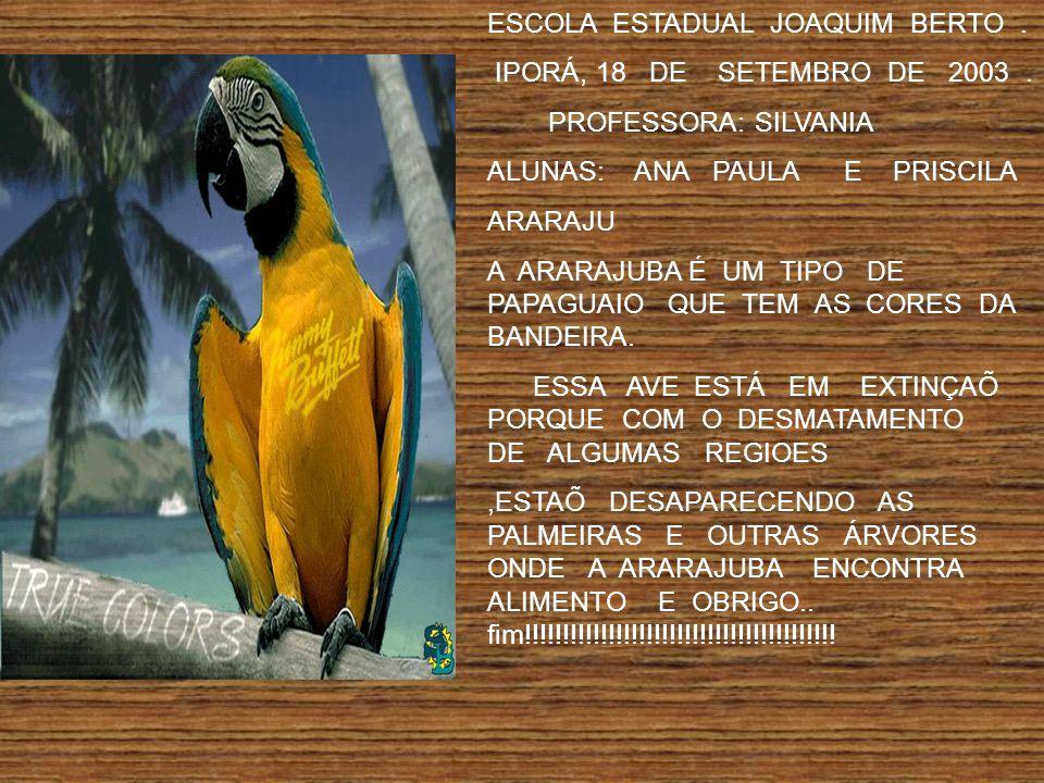 ESCOLA ESTADUAL JOAQUIM BERTO.IPORÁ, 18 DE SETEMBRO DE 2003.