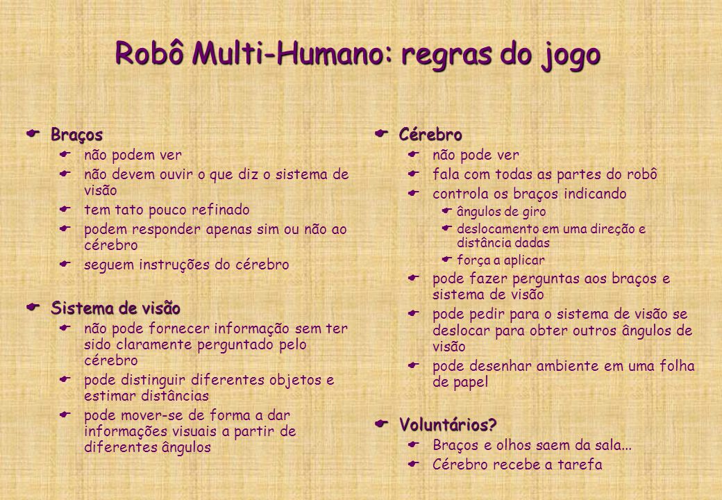 Experimento do Robô Multi-Humano Robô simulado por 4 humanos: 1 Cérebro (1 pessoa), raciocinador 2 Braços (1 por pessoa = 2 pessoas), atuadores 1 sist