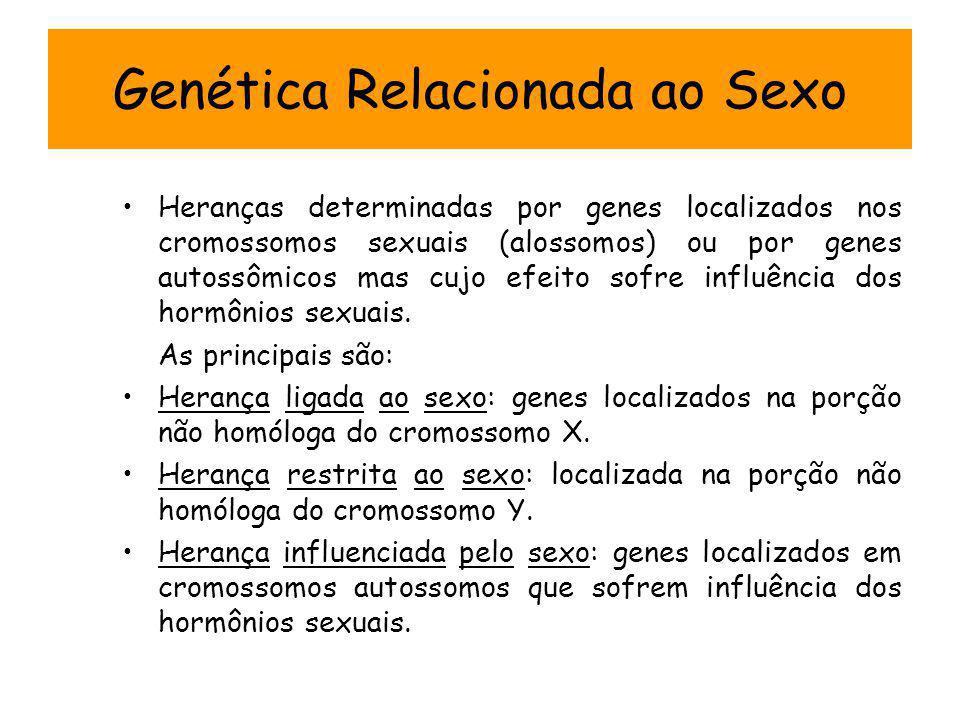Genética Relacionada ao Sexo Heranças determinadas por genes localizados nos cromossomos sexuais (alossomos) ou por genes autossômicos mas cujo efeito