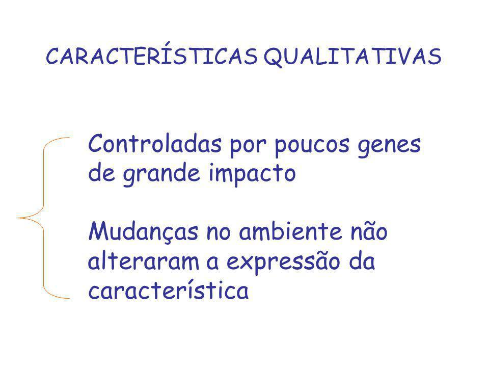 CARACTERÍSTICAS QUALITATIVAS Controladas por poucos genes de grande impacto Mudanças no ambiente não alteraram a expressão da característica