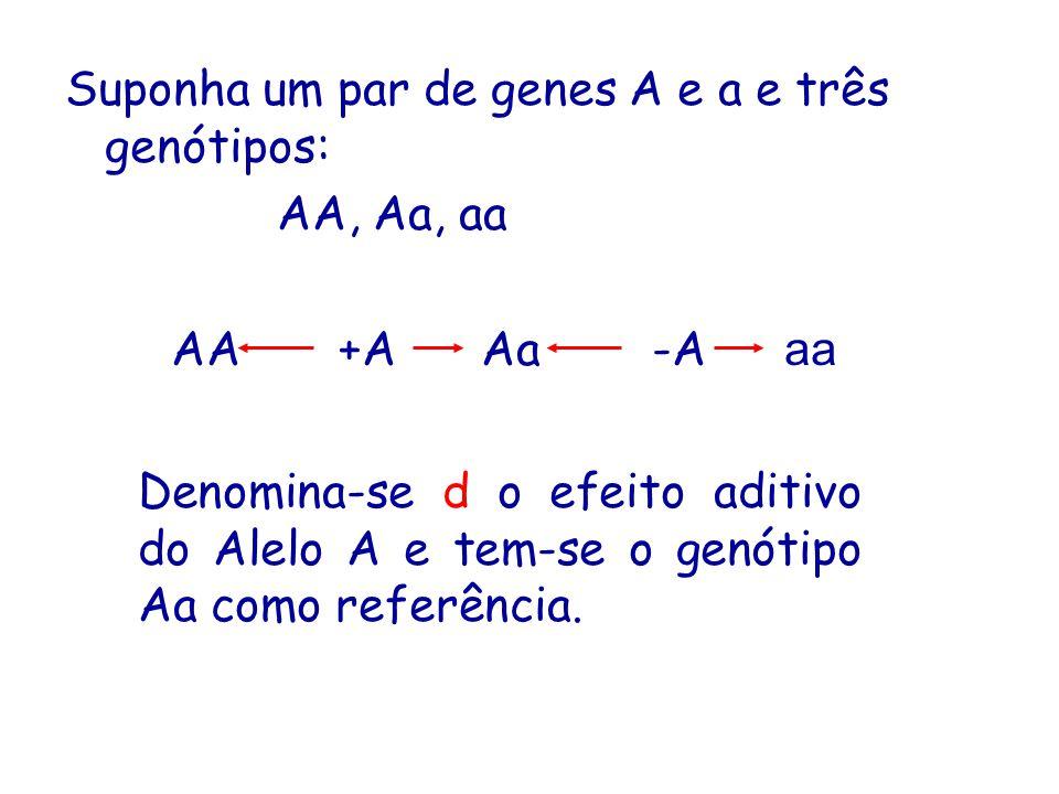 Suponha um par de genes A e a e três genótipos: AA, Aa, aa AA +A Aa -A aa Denomina-se d o efeito aditivo do Alelo A e tem-se o genótipo Aa como referência.