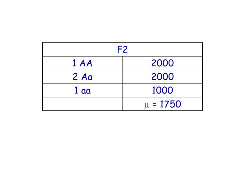 F2 1 AA2000 2 Aa2000 1 aa1000 = 1750
