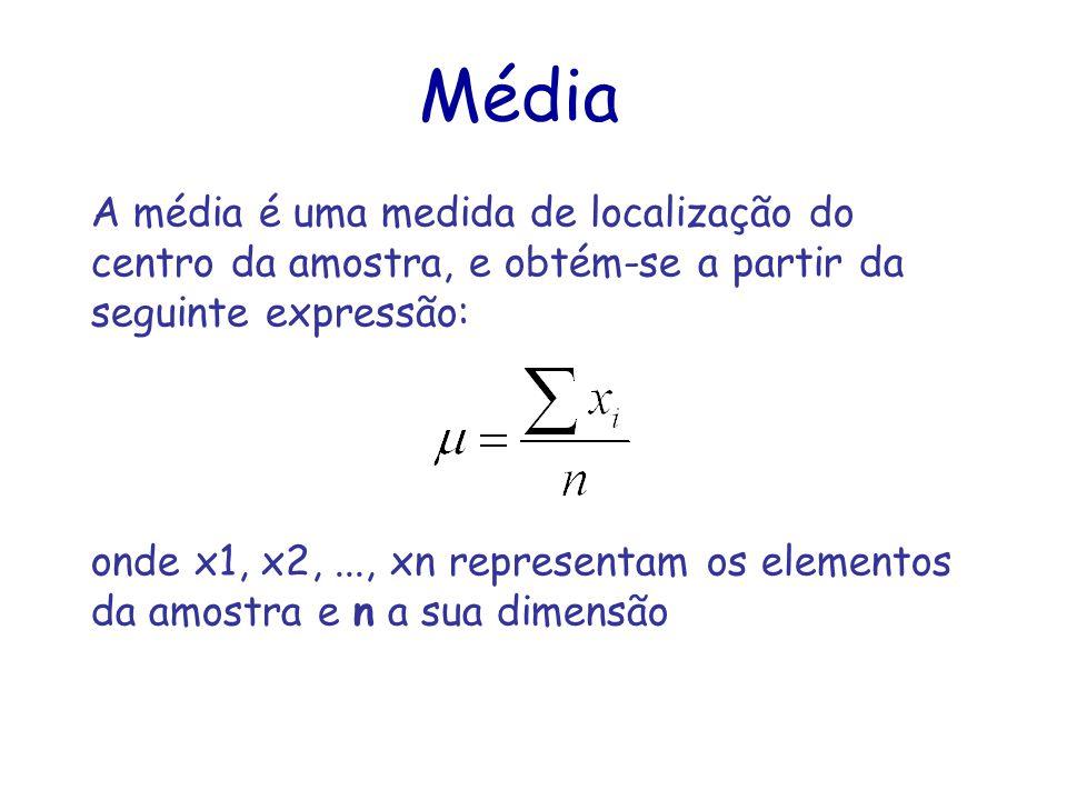 Média A média é uma medida de localização do centro da amostra, e obtém-se a partir da seguinte expressão: onde x1, x2,..., xn representam os elementos da amostra e n a sua dimensão