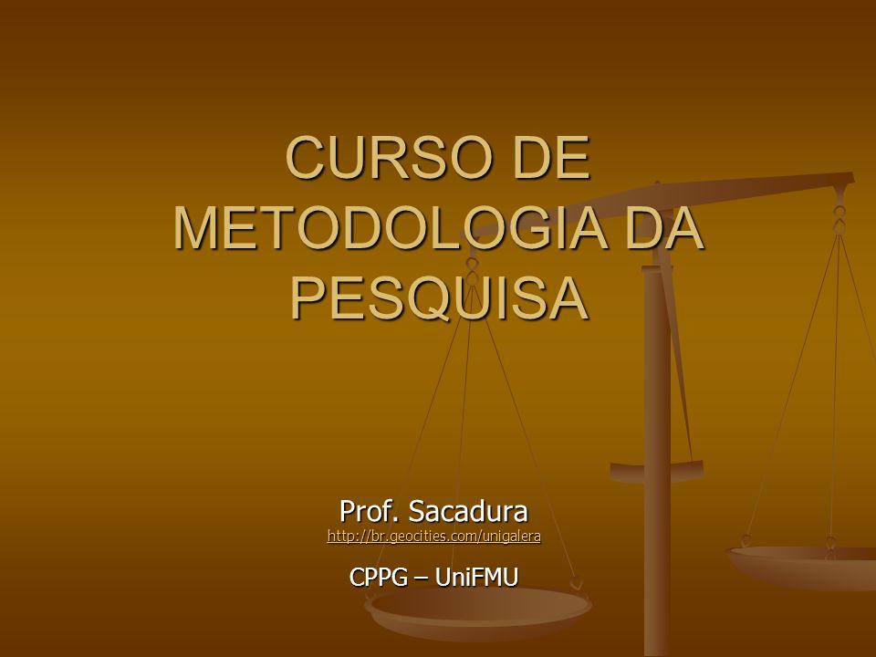 CURSO DE METODOLOGIA DA PESQUISA Prof. Sacadura http://br.geocities.com/unigalera CPPG – UniFMU