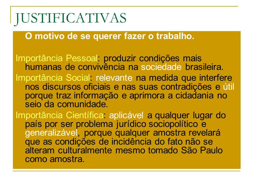 JUSTIFICATIVAS O motivo de se querer fazer o trabalho. Importância Pessoal: produzir condições mais humanas de convivência na sociedade brasileira. Im