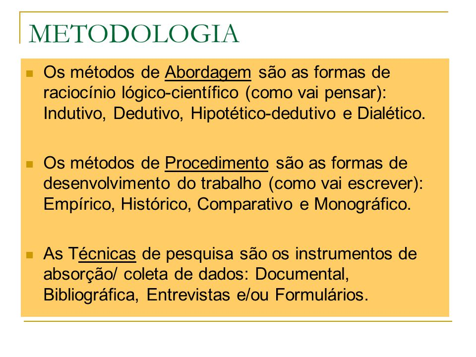 METODOLOGIA Os métodos de Abordagem são as formas de raciocínio lógico-científico (como vai pensar): Indutivo, Dedutivo, Hipotético-dedutivo e Dialéti
