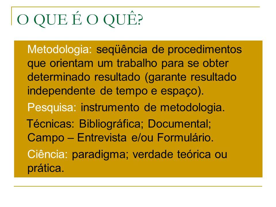 O QUE É O QUÊ? Metodologia: seqüência de procedimentos que orientam um trabalho para se obter determinado resultado (garante resultado independente de