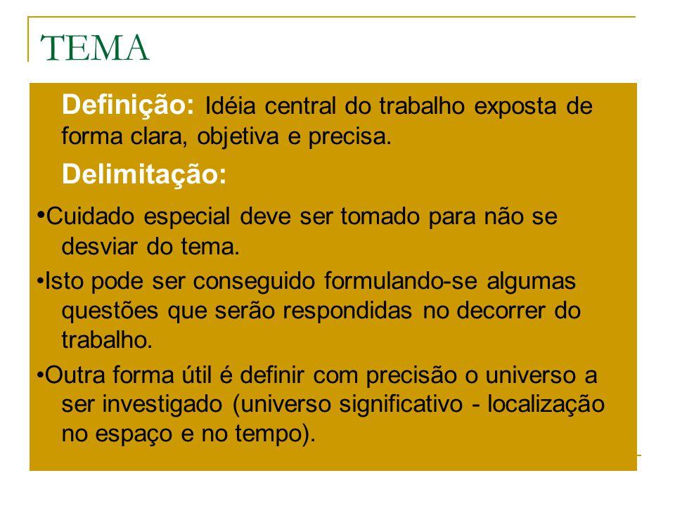 TEMA Definição: Idéia central do trabalho exposta de forma clara, objetiva e precisa. Delimitação: Cuidado especial deve ser tomado para não se desvia